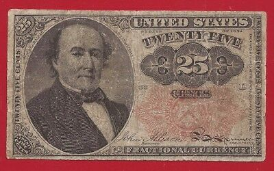 1874-1876 5th Issue 25¢ Fractional Currency,Walker Bust,Fr 1308,fine,Nice!