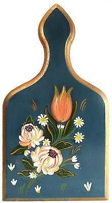 Vintage Hand Painted Folk Art Wooden Wall Hanging Cutting Board 32 x 18 cm