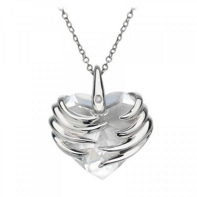 Silver Necklace & Angel Heart Pendant w Diamond by Hot Diamonds UK - RRP$169.00