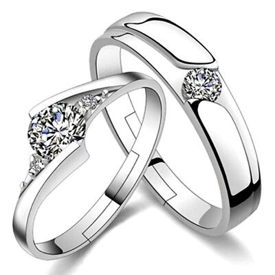 His And Her Lovers Couple 2 Ring Set Crystal Diamond Wedding  Jewelry Bridal