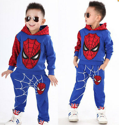 Spiderman Tracksuit Outfits Kids Boys Girls Baby Hooded Joggers Jumpsuit Clothes