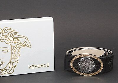 "New in Box VERSACE Silver & Gold Reversible Buckle Black Leather Belt Sz 35""-39"""