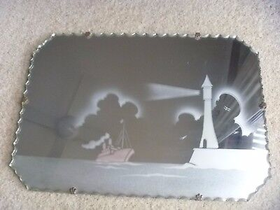 Vintage art deco pie crust/scalloped edge wall mirror LIGHTHOUSE ~ PINK SHIP