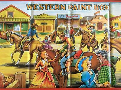 VINTAGE TIN WESTERN PAINT BOX HORSES COWBOYS by PAGE LONDON ENGLAND