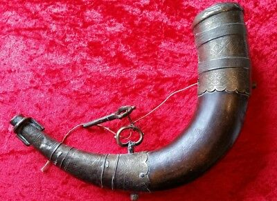 Antique Middle Eastern Brass & Wood Powder Flask 19th Century MUST SEE!