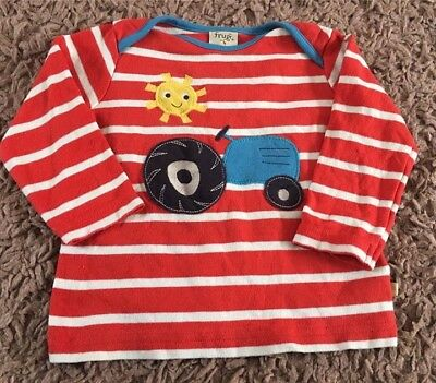 Frugi Bobby Tomato Tractor Top 6-12 Months (generous Sizing) T Shirt