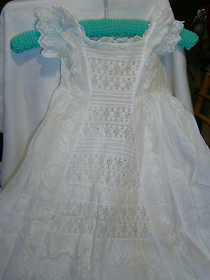 1800's ANTIQUE BABY'S HAND EMBROIDERED CHRISTENING GOWN & PETTICOAT