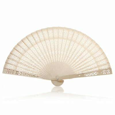 Summer Folding Bamboo Wooden Carved Hand Fan Wedding Bridal Party J9E1
