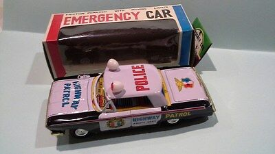 T.t  Tin Chevrolet Highway Patrol Police Made In Japan Factory Mint Boxed