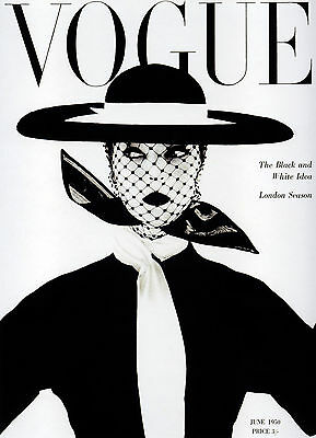Vintage Print Paper Poster Canvas Framed Art by Vogue black white lady hat