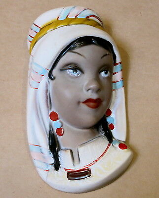 BEAUTIFUL VINTAGE EXOTIC LADY WALL PLAQUE 1950s SAREM MADE IN ITALY