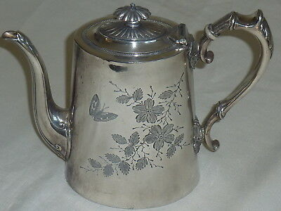 James Dixon England For A. Saunders Sydney Coffee Tea Pot  Wattle & Butterflies