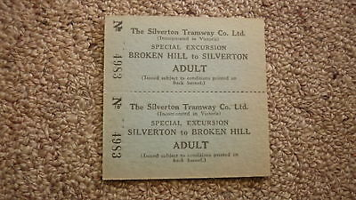 OLD RAILWAY 1950s SILVERTON TRAMWAY Co PAIR OF TICKETS, BROKEN HILL ADULT 2