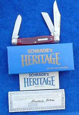 "Schrade USA 8801 ""Heritage"" Stockman Knife 1984 Brown Bone Handles in Box"