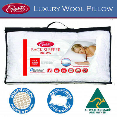 Easy Rest Back Sleeper Washable Ball Fibre Pillow Gusseted Side Australian Made