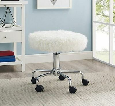 Rolling Desk Chair White Faux Fur Stool Swivel Wheels Salon Office Vanity Round