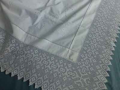 Antq Victorian Edwardian embroidered whitwork crochet lace tablecloth 140 x140cm