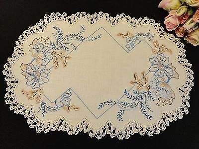 Vintage Hand Embroidered Doily Blue Floral