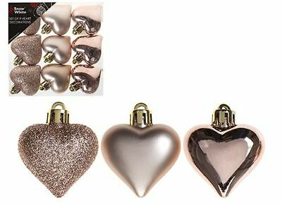 PACK OF 9 Festive HEART Shaped ROSE GOLD Colour 4cm CHRISTMAS BAUBLES