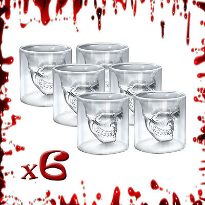 6 x Crystal Skull Head Vodka Wine Beer Whiskey Shot Glass Doomed Novelty Gift
