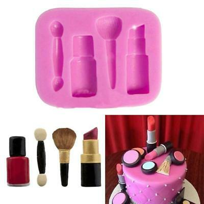 Silicone Lipstick Makeup Brush Mould Sugarcraft Cupcake Toppers Cake Decorating