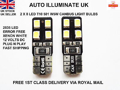 2X T10 501 Wedge Canbus 8 Led Bright Xenon White Light Bulbs Lamps W5W 194 12V
