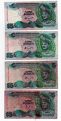 Malaysia 5 Ringgit x 4 Notes 1995 Low Grade   B1144