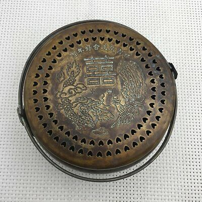 Chinese old copper hand engraving  dragon and phoenix incense burne
