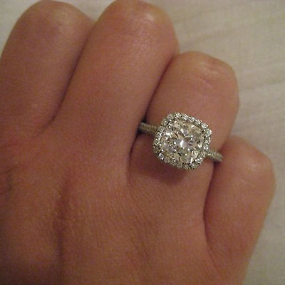 Solitaire Diamond Engagement Wedding Rings 2.52Ct Real 14K White Gold Size 6 7 8