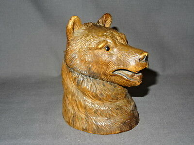 """Antique 19th Century Detailed Carved Wooden Black Forest Bear Inkwell 4.75"""""""