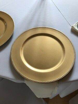 Pack of 10 X Gold Beaded Style Charger Plate Dinner Table Place Mat