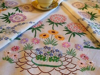 Exquisite Vintage Linen Tablecloth Hand Embroidered Spring Flowers BEAUTIFUL