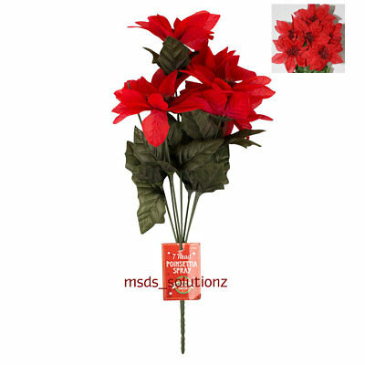 Christmas Red Artificial Poinsettia Decoration 7 Heads Xmas Flower Wreath Craft