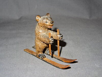 """Antique 19th Century Carved Wooden Black Forest Bear - Skiing 2.25"""""""