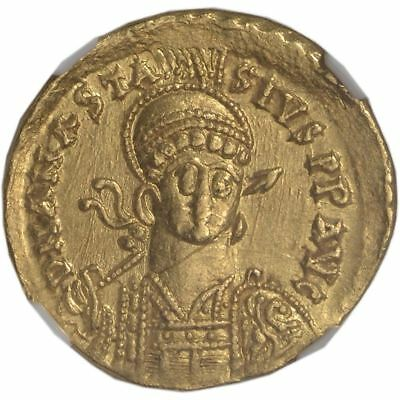 DEAL! AD 491-518 Byzantine Empire Anastasius I AV Solidus Ch AU NGC - Ancient Go