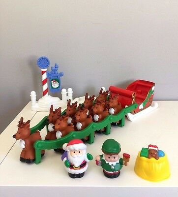 RARE Fisher Price Little People Night Before Christmas Musical Santa Sleigh