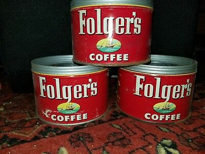 3 - FOLGER'S COFFEE CAN KEY CANS Vintage Folger's Coffee Tin 1952 kitchen decor