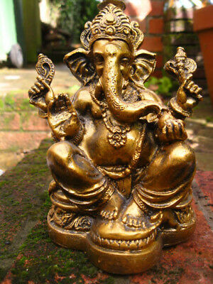 GANESH GANESHA FIGURE FIGURINE Ornament HINDU GOD Indian DEITY DEVA GOLD  17cm