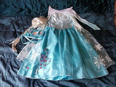 Official Disney Store Elsa Costume Size 7-8 With Wig, Handbag And
