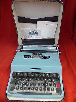 Serviced Olivetti Lettera 32 Italy Typewriter Portable Compact Case Vintage Rare