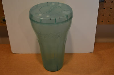 "Coca-Cola / Coke Green Tinted Plastic Drink Cup W/lid  7 3/8"" Tall"