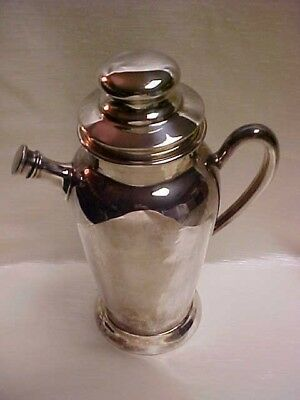 Vintage 1940's Silver Plate On Copper Academy Brand Cocktail Shaker with top