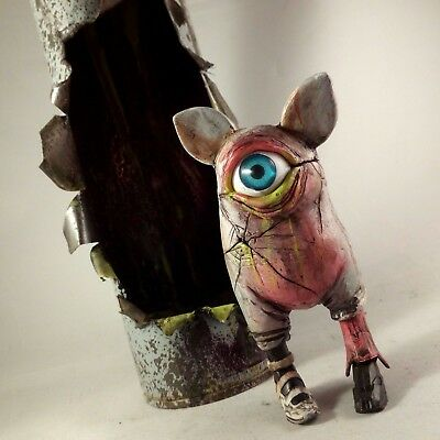 Creature In A Spraycan Hand Made Graffiti Sculpture Original Art Toy Figure