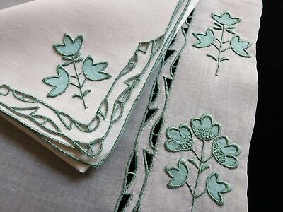 BACKGROUND Vintage Marghab 25pc Placemats Napkins Runner Madeira Hand Embroidery