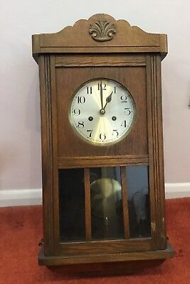 Wooden Antique Wall Clock, Post 1900, Excellent Working Order, Chimes