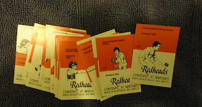 Vintage W.a Match Co Redheads Matchbox Labels Set - Commonwealth Games (32)