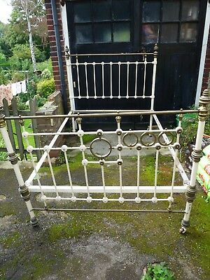 Victorian antique iron and brass bedstead 4 ft 6