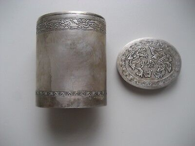 Alte Chinesische Dose aus echtem Silber, very old Chinese silver can (Box)