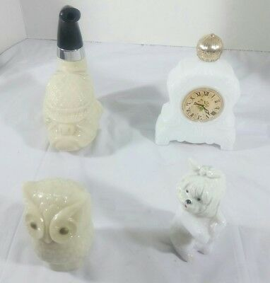 Lot of 4:  Vintage Avon Glass Perfume/Cologne Bottles/Owl,Dog,Clock,Pipe Bulldog