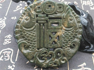 Old China Hand-carved jade Pendant worn aristocratic art collection A195